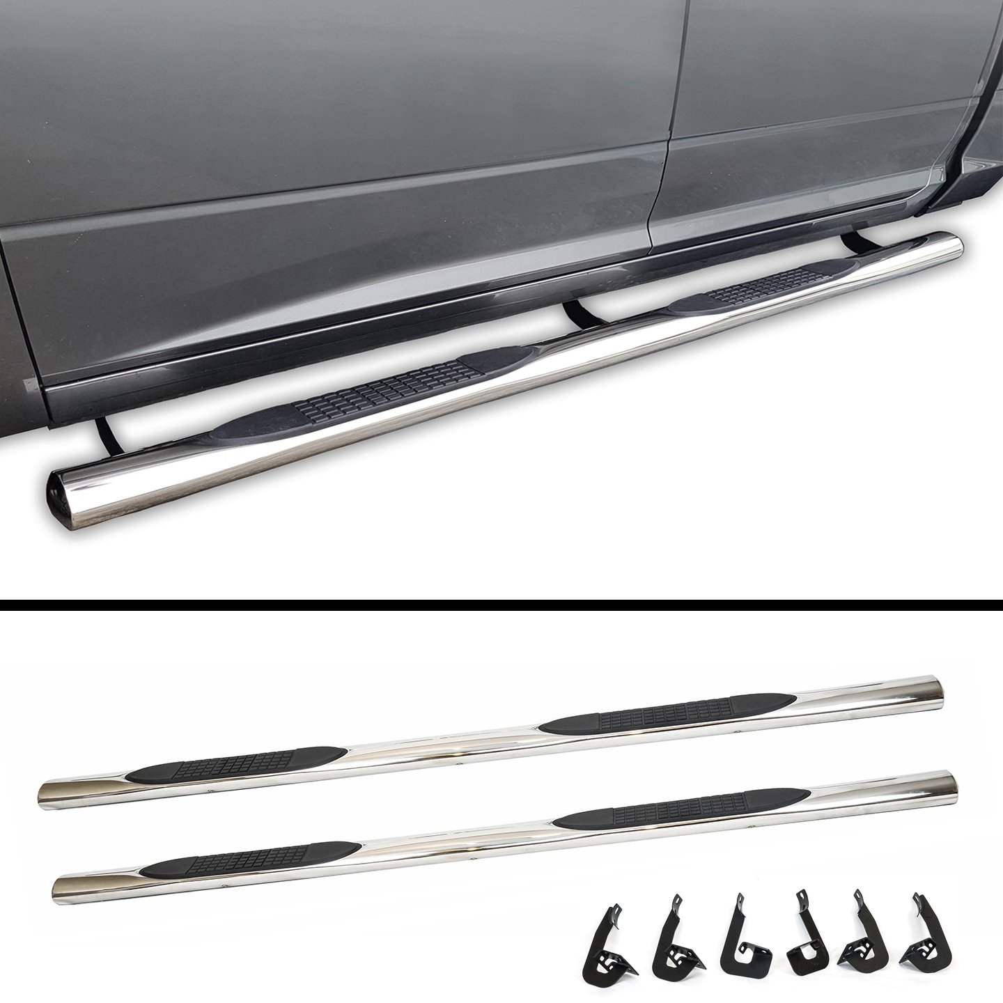 Galaxy Auto 4' OVAL STRAIGHT For 2009-14 FORD F150 SUPER CAB - Side Steps Nerf Bars Running Boards (Chrome)