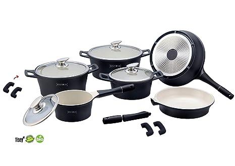 Cocina de cerámica de 14 piezas Negro TV de publicidad Royalty Line – Juego de cazuelas