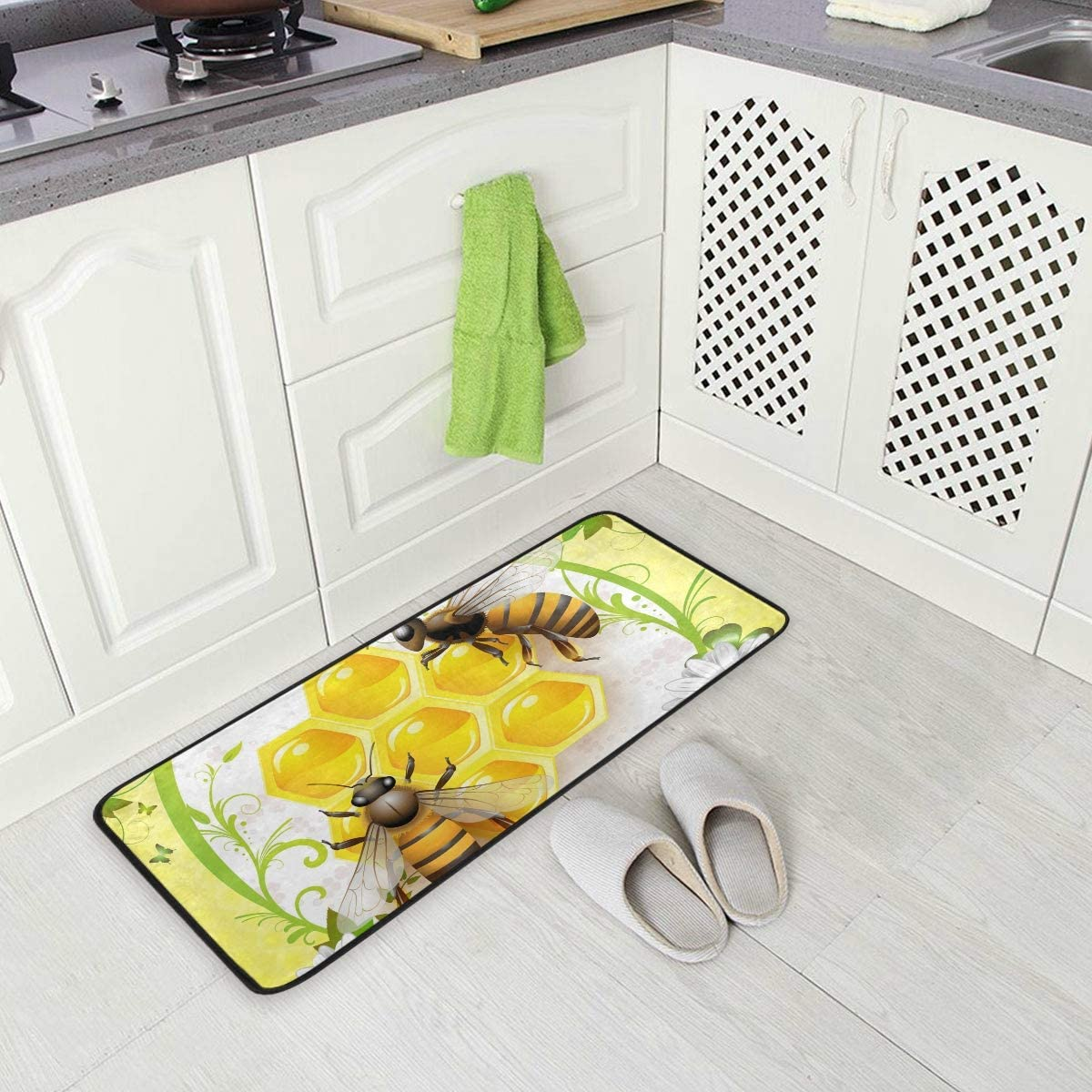 Honey Bee Kitchen Floor Mat, Non-Slip Comfort Office Standing Cushioned Rug Home Decor Indoor Outdoor, 39