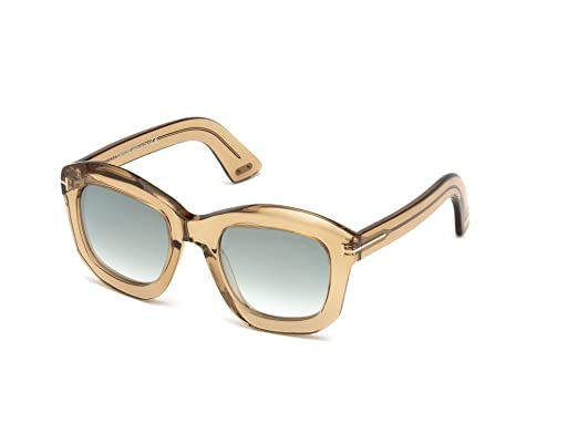 9a963192cb2 Image Unavailable. Image not available for. Color  Tom Ford FT0582 45P Shiny  Light Brown Julia Square Sunglasses ...