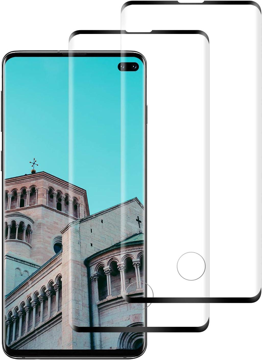 NASFUEY Cristal Templado para Samsung S10 Plus, [2 Pack] Protector de Pantalla, [Anti arañazos] [Sin Burbujas] [Fácil de Instalar] HD Film Vidrio Templado para S10 Plus