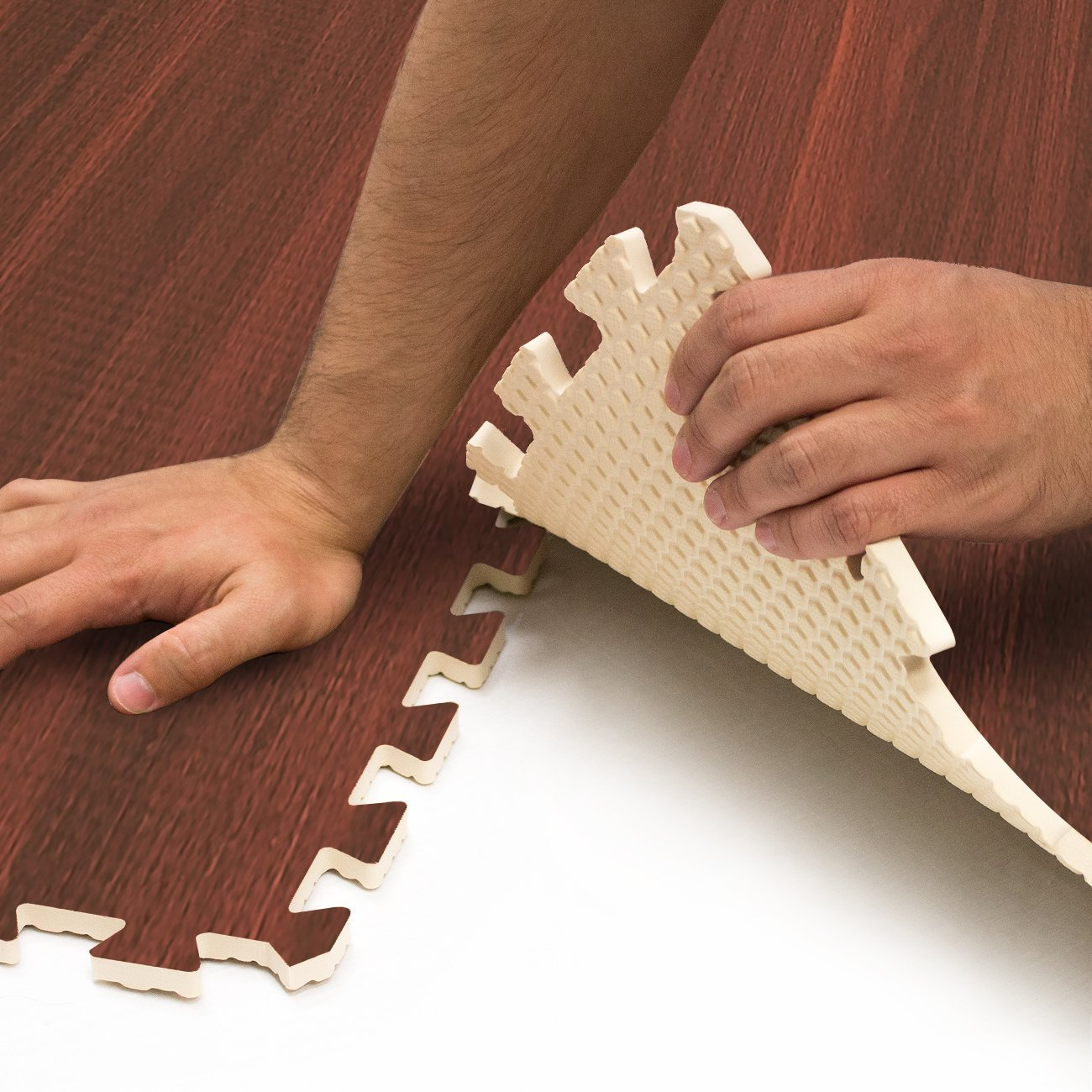 Sorbus Wood Floor Mats Foam Interlocking Wood Mats Each Tile 4 Square Feet 3/8-Inch Thick Puzzle Wood Tiles with Borders – for Home Office Playroom Basement (6 Tiles 24 Sq ft, Wood Grain - Cherry) by Sorbus (Image #5)
