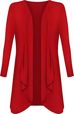 WOMENS-LADIES WATERFALL CARDIGAN RED SIZE  16-18