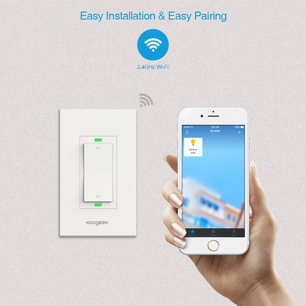 Koogeek Smart WiFi Light Switch Dimmer Works with Apple Homekit, Only for Single Pole, Support Siri on 2.4GHz Network 4 Packs (Require Neutral Wire) by Koogeek (Image #7)