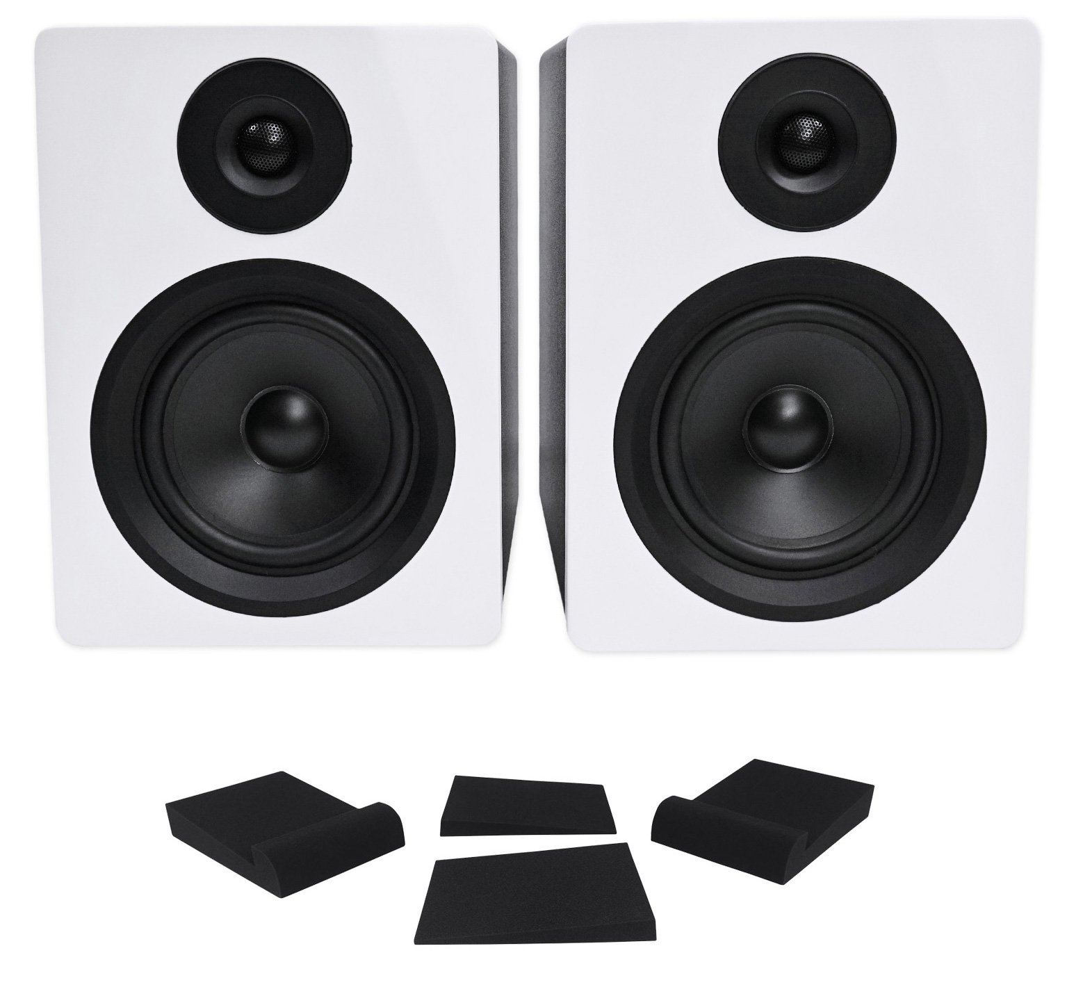 Pair Rockville APM5W 5.25'' 2-Way 250W Powered USB Studio Monitor Speakers+Pads by Rockville