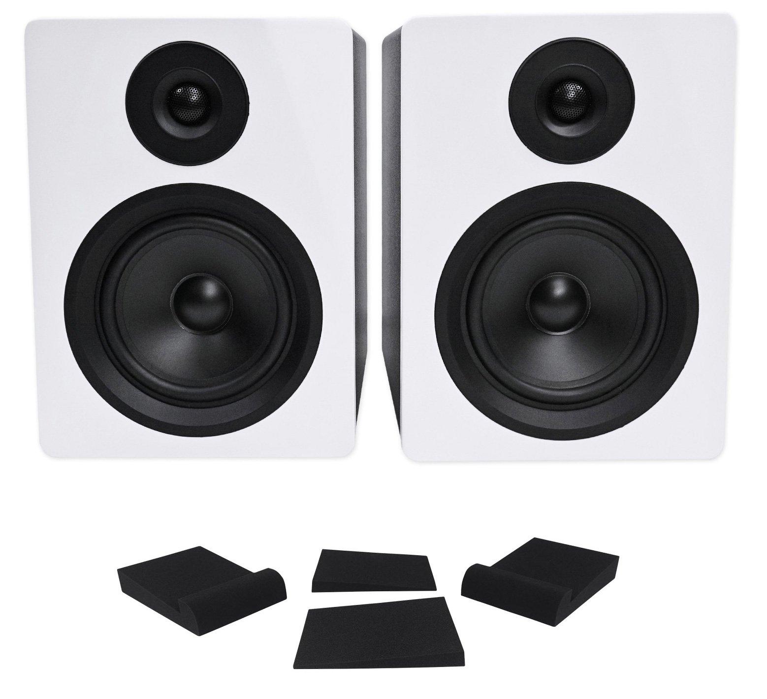 Pair Rockville APM5W 5.25'' 2-Way 250W Powered USB Studio Monitor Speakers+Pads