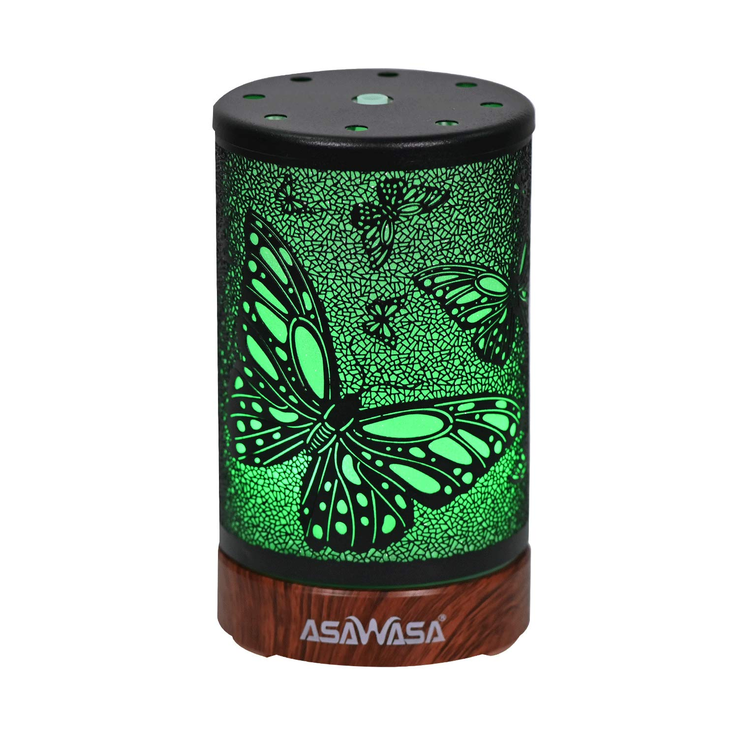 Essential Oil Diffuser ASAWASA Metal Aromatherapy Ultrasonic Cool Mist Aroma Humidifier with Waterless Auto Shut-Off,7 Colors Changed LED Night Lamp for Home bedroom Office spa Yoga 100ml (Butterfly)