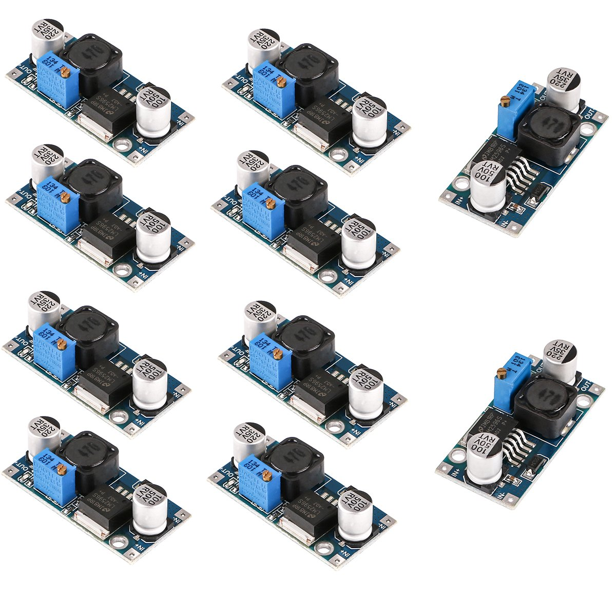 MakerHawk 10pcs LM2596 DC-DC Buck Converter High Efficiency Voltage Regulator 3.0-40V to 1.5-35V Adjustable Power Supply Step Down Module