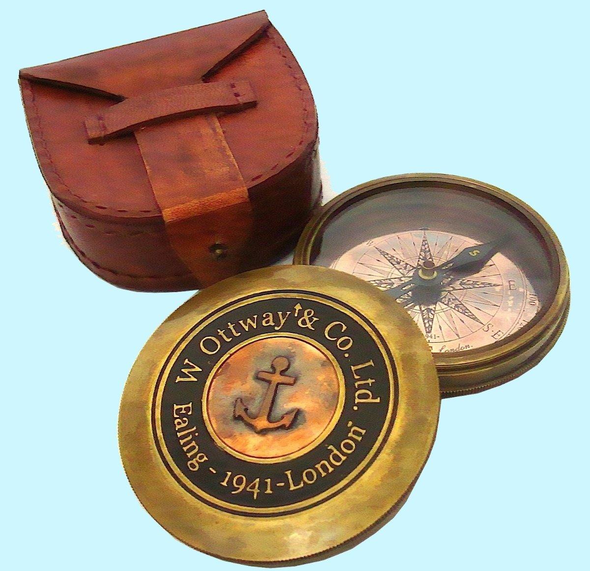 骨董品World W Ottway Company Ltdロンドン1914ヴィンテージLook Fine航海Maritimeアート飾り銅真鍮アンティーク詩コンパス、レザーケースawusasc 09 B071WKKJXG