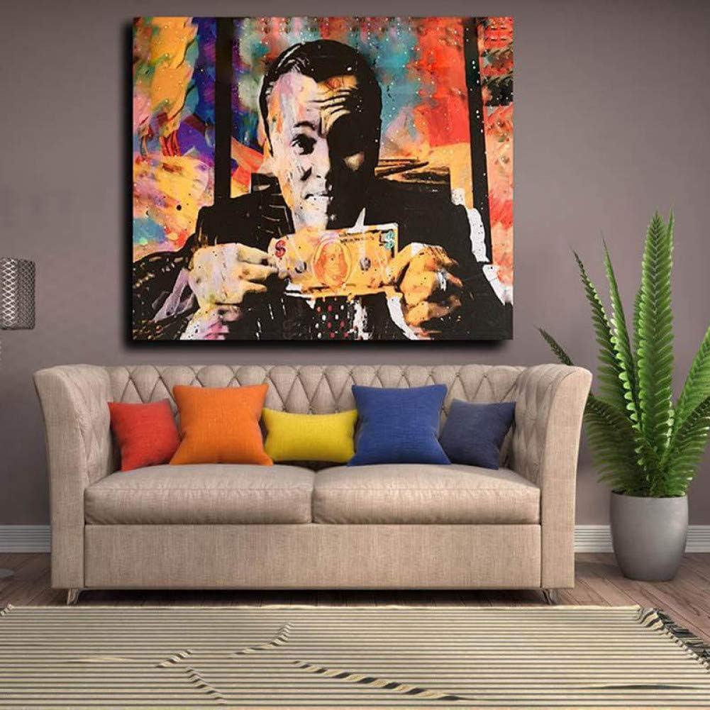 LPHMMD Pittura Art Deco Soggiorno Nordico The Wolf Wall Street Denaro Decorazione Astratta Pittura Tela Pittura Murales Poster cinematografico Wall Art-50x70cm