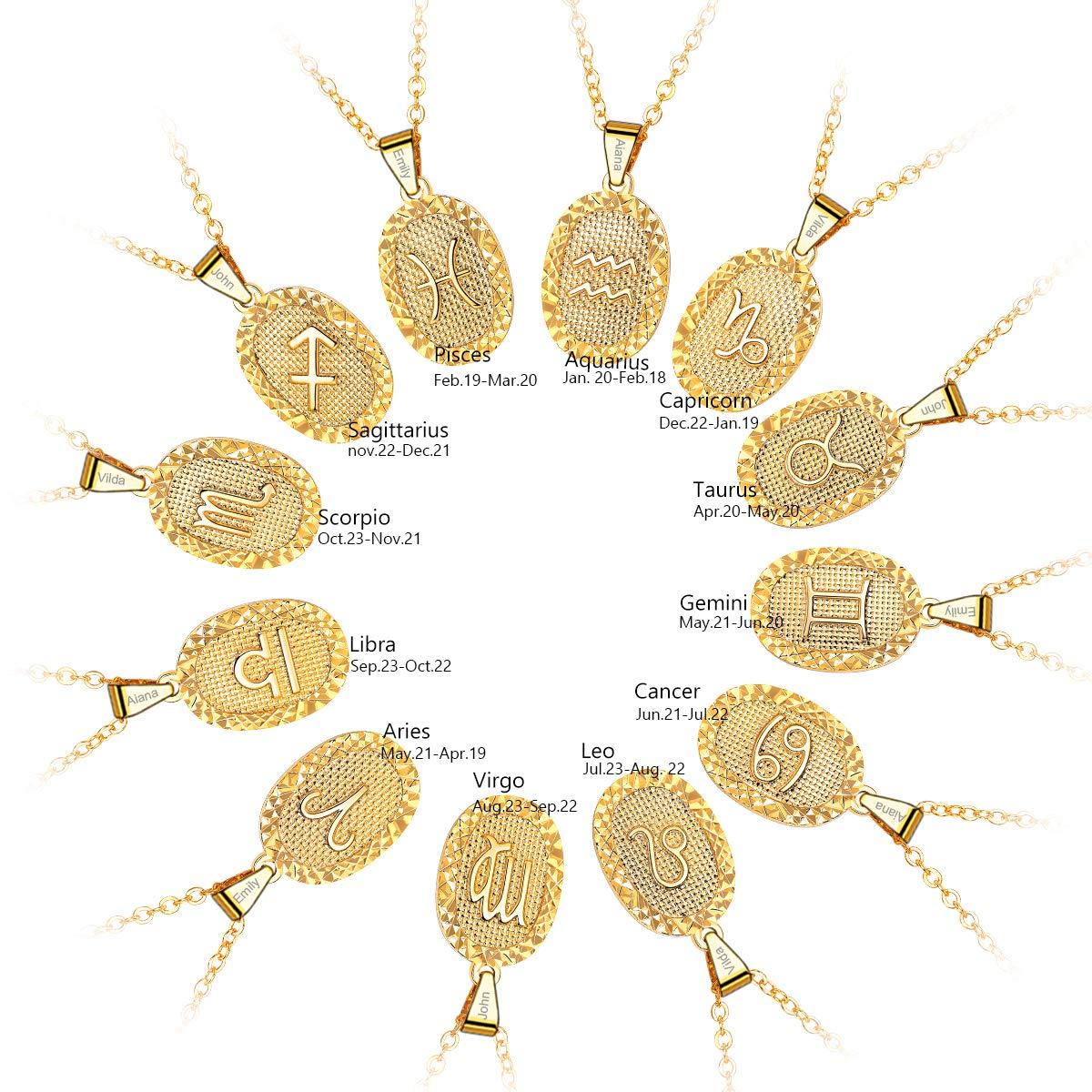 FOCALOOK Bijoux Femme Collier Astrologique Signe du Zodiaque 12 Constellations Pendentif Ovale Personnalisable Cha/îne Fine 55cm de Long Ajustable Joyau Plaqu/é Or Jaune//Platin/é