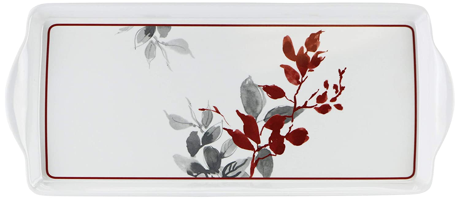 Corelle Coordinates by Reston Lloyd Melamine Tidbit Serving Tray, Kyoto Leaves 06256