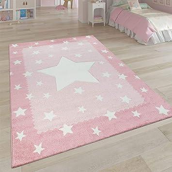 Paco Home Kinderteppich Kinderzimmer Rosa 3-D Sternen Design Bordüre Weich  Robust Kurzflor, Grösse:80x150 cm