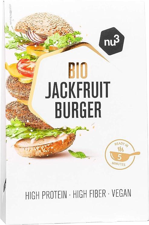 nu3 Bio Jackfruit Burger - 2 x 90g hamburguesas veganas hecha a base de yaca - Veggie burger frita en 5 minutos – 15g de proteína vegetal– Carne 100% ...