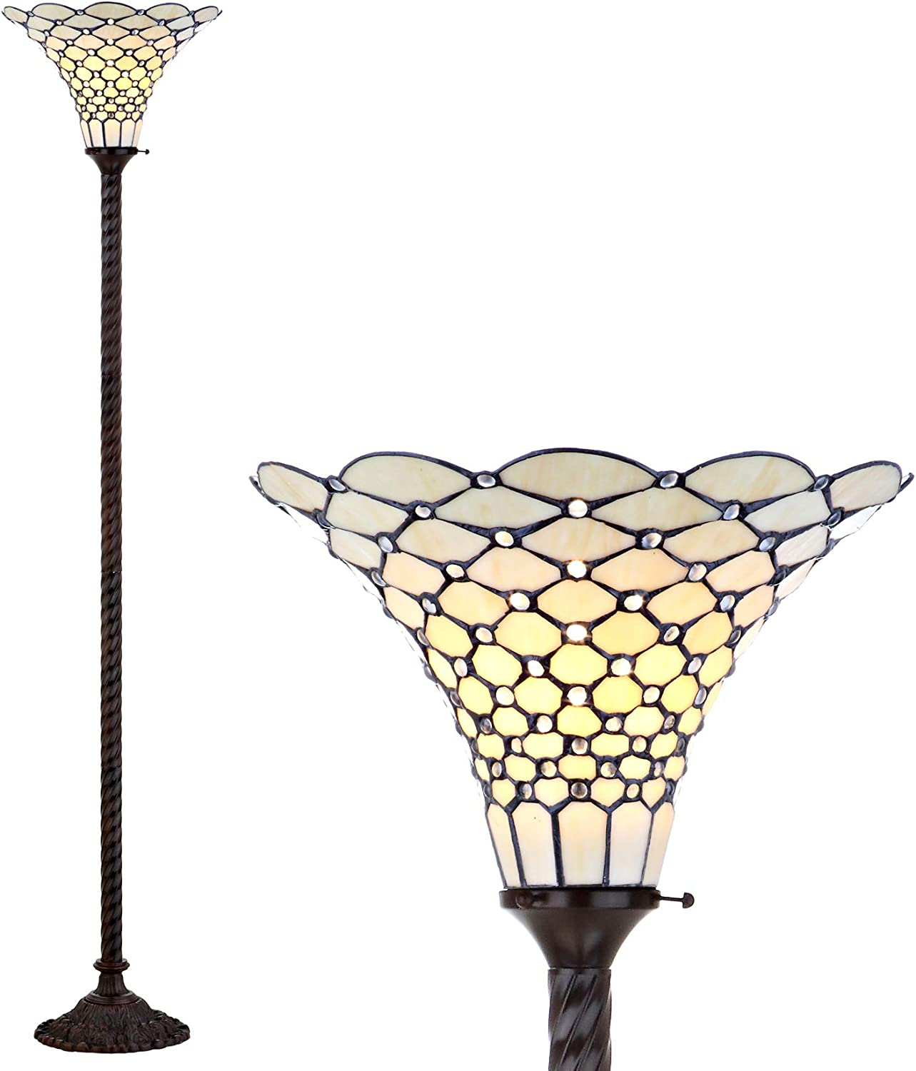 Jonathan Y Jyl8007a White Style 70 Torchiere Led Floor Lamp Tiffany Traditional For Bedroom Living Room Bronze Amazon Com