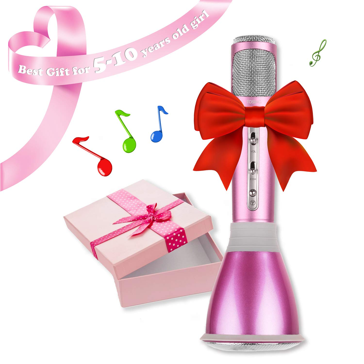 NeWisdom Top Birthday Gifts For Girls Age 5 To 13 Year Old Wireless Bluetooth Microphone Karaoke Machine 6 7 8 9 10 11 12
