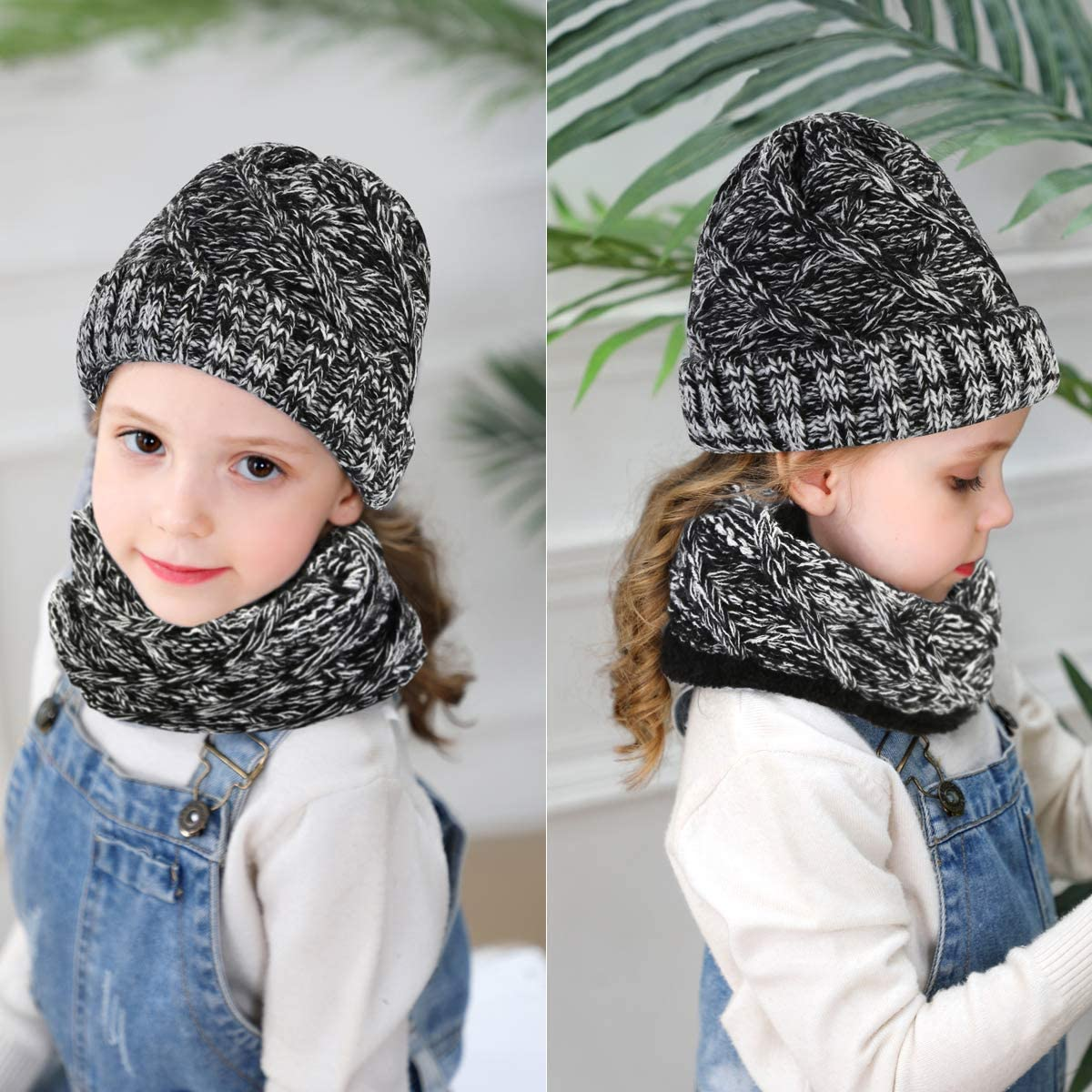 CheChury Kids Warm Knitted Beanie Hat and Circle Scarf Set Slouchy Warm Loop Scarf Neck Warmer Skull Cap Winter Sports Hat for Girls Boys Children