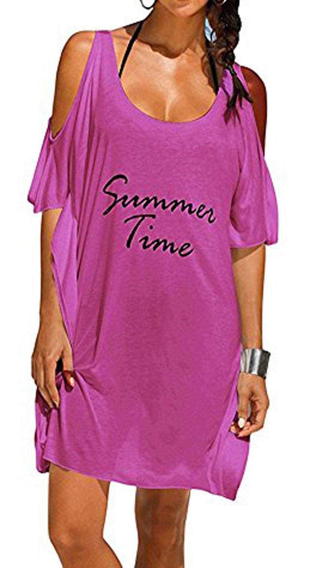 Happyyip Women's Baggy Swimwear Bikini Cover-ups Beach Dress Night T-shirt (One Size, Summer Purple)
