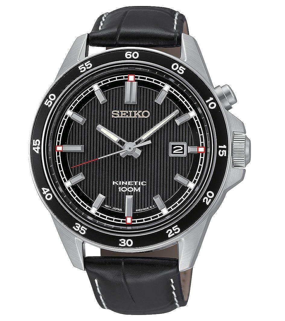 Seiko Kinetic - Reloj de cuarzo para hombre, correa de cuero color negro: Amazon.es: Relojes