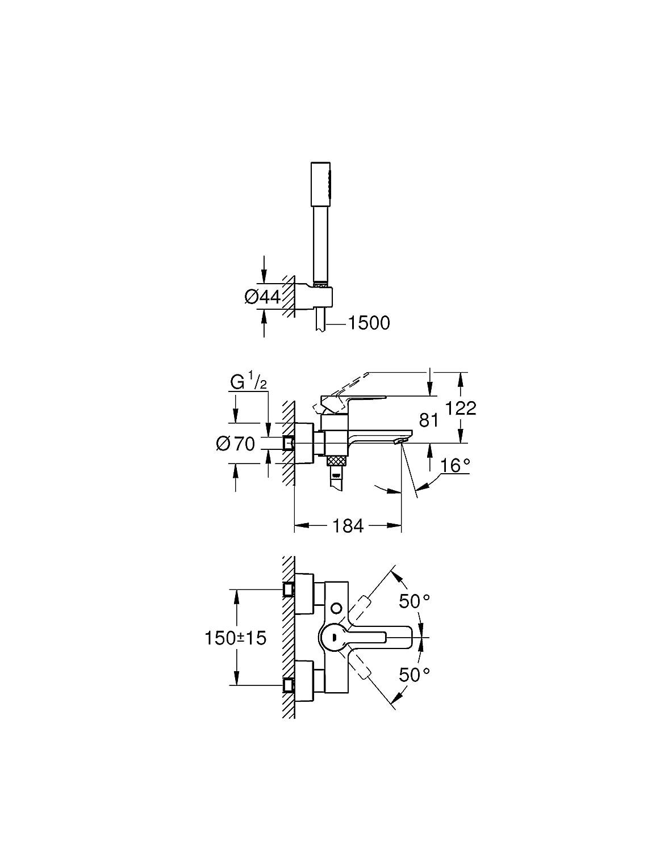 GROHE Lineare Mitigeur de douche Batterie 33850001