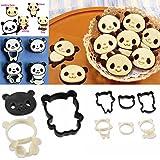 HuaYang Lot de moules en plastique pour biscuits en forme de panda, 4 combinaisons differentes