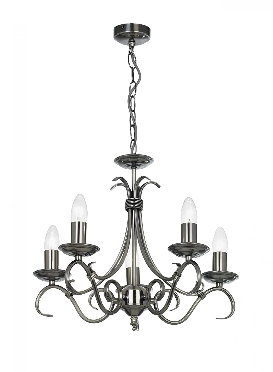 5 Light Candle Chandelier Finish: Antique Silver Endon