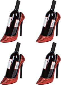 "Hilarious Home 8.5"" x 7""H High Heel Wine Bottle Holder - Stylish Conversation Starter Wine Rack (Red Glitter, Set of 4)"