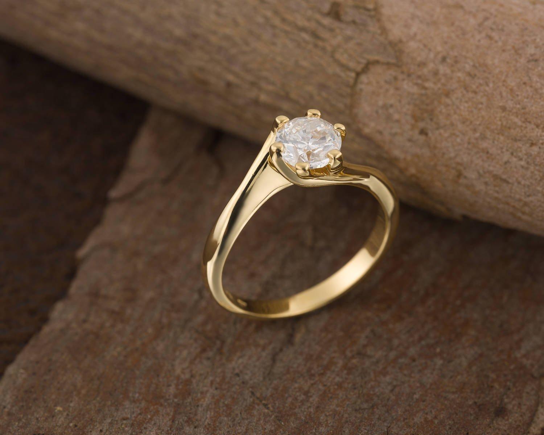 Amazon.com  1 carat diamond engagement rings for women Art deco style 18K Yellow  gold  Handmade c63b616ba