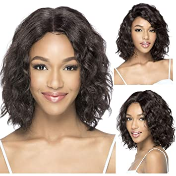Amazon Com Bever Short Water Wavy Middle Part Wigs Curly Bob Wigs