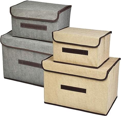 TIMESETL 4 PCS Cajas Almacenaje con Tapa | Cajas Almacenaje Plegables Contenedores de Almacenamiento | no Tejido Cajas de Ordenación Armarios, Ropa, Zapatos, Libros, Cosméticos, Juguetes, etc.: Amazon.es: Hogar