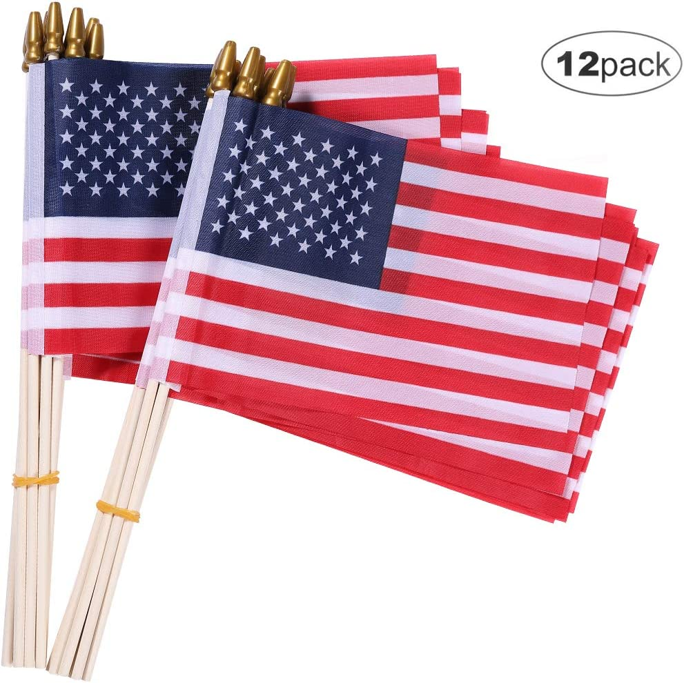 OLYNIK Small American Flags-12 Pack, 5.5x8.2 Inch Small American Flags on Stick, Handheld American Flag/US Flag, for Party Decorations and Parades, School Sport Events, July 4th Decorations Flags