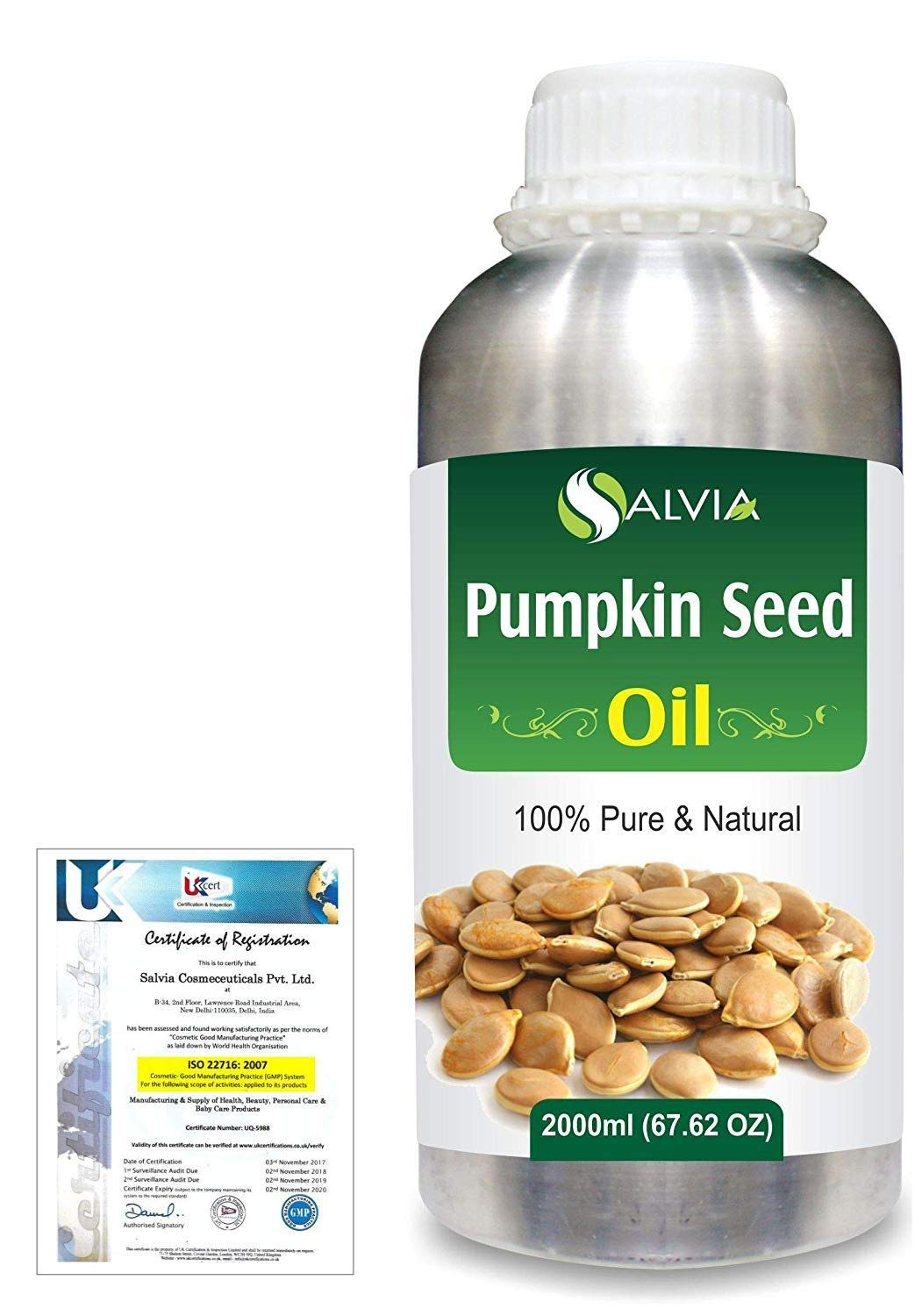 Pumpkin Seed (Cucurbita Pepo) Pure Natural Aromatherapy Therapeutic Uncut Undiluted Carrier Oil 2000ml/67.6 fl. oz. Express Shipping