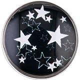 Morella® Damen SMALL Click-Button Druckknopf 12 mm Ø Sterne schwarz weiß