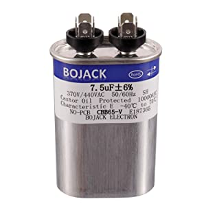 BOJACK 7.5 uF ±6% 7.5 MFD 370V/440V CBB65 Oval Run Start Capacitor for AC Motor Run or Fan Start and Cool or Heat Pump Air Conditione
