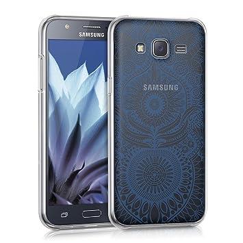 kwmobile Funda para Samsung Galaxy J5 (2015) - Carcasa Protectora de [TPU] con diseño Oriental en [Azul/Transparente]