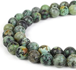 RVG 4mm Natural African Turquoise Beads Round Gemstone Loose Stone Mala 15.5 in Strand for Jewelry Making (Approx 88-90 pcs)