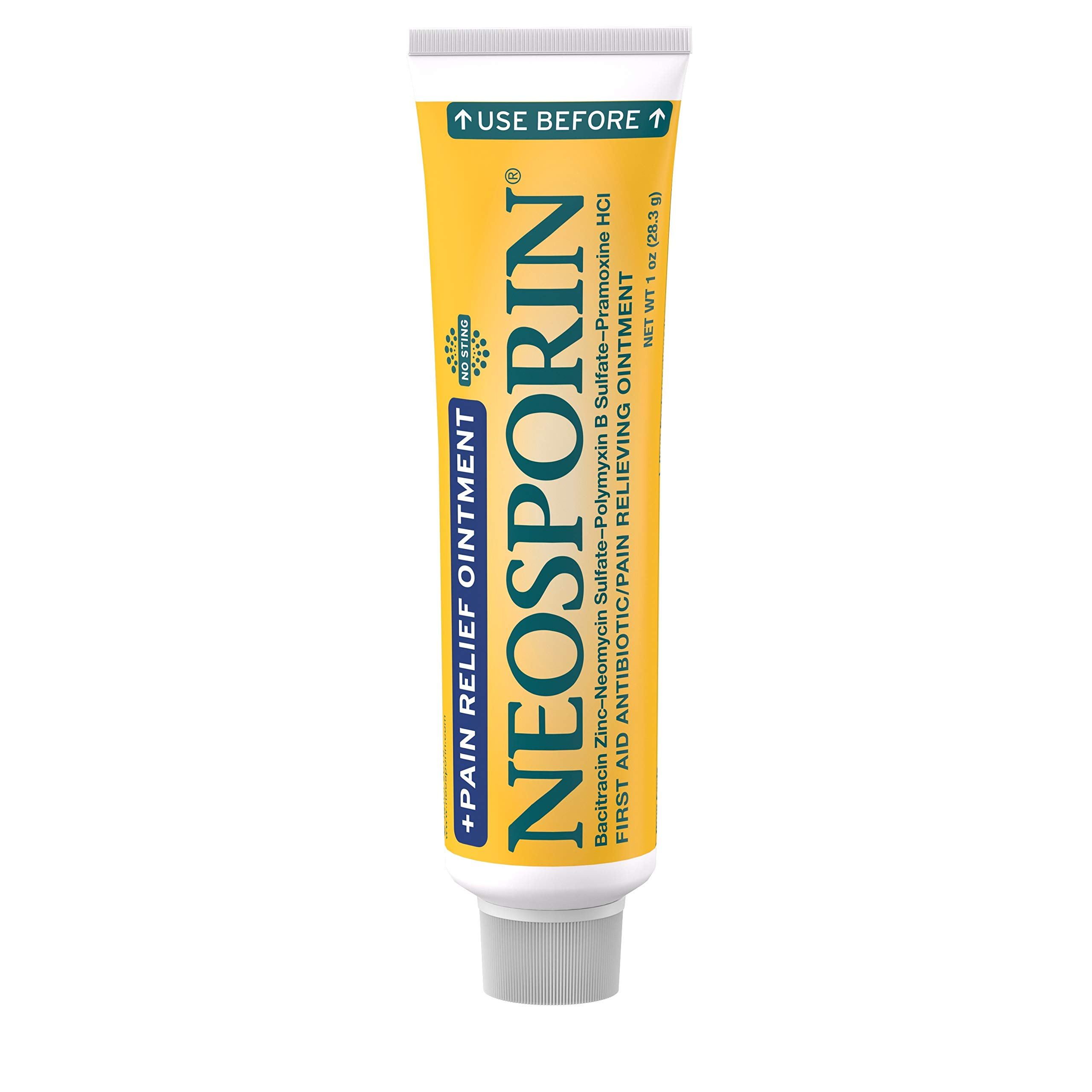Neosporin + Maximum-Strength Pain Relief Dual Action Ointment, First Aid Topical Antibiotic & Analgesic Ointment for 24-Hour Infection Protection with Bacitracin Zinc & Pramoxine HCl, 1 oz