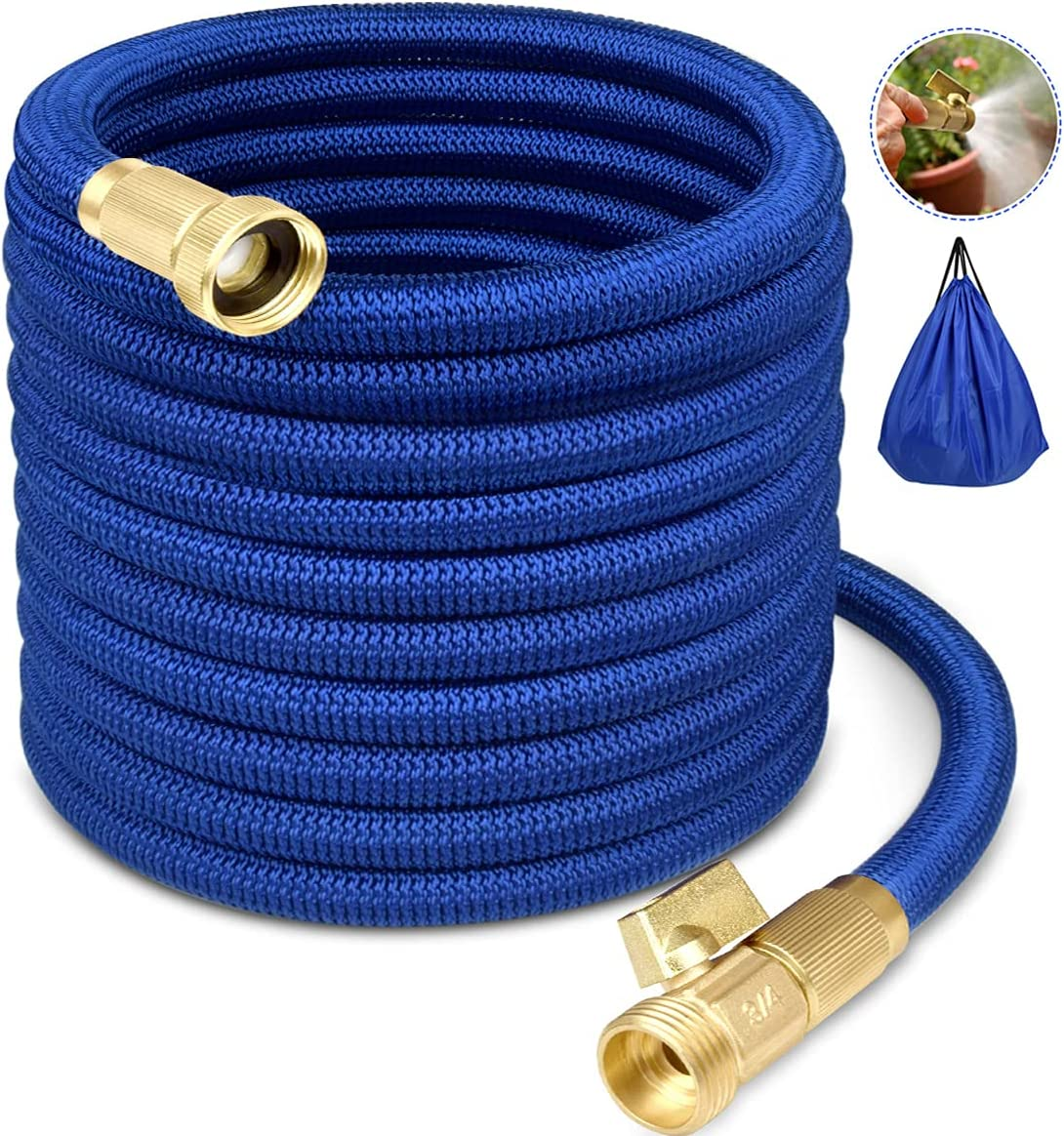 Garden Hose Water Hose Expandable Garden Hose Flexible Garden Hose 50FT No-Kink Flexible Expanding Water Hose with 4 Layer Latex Core, 3/4 Solid Brass Fittings for Watering/Washing/Cleaning