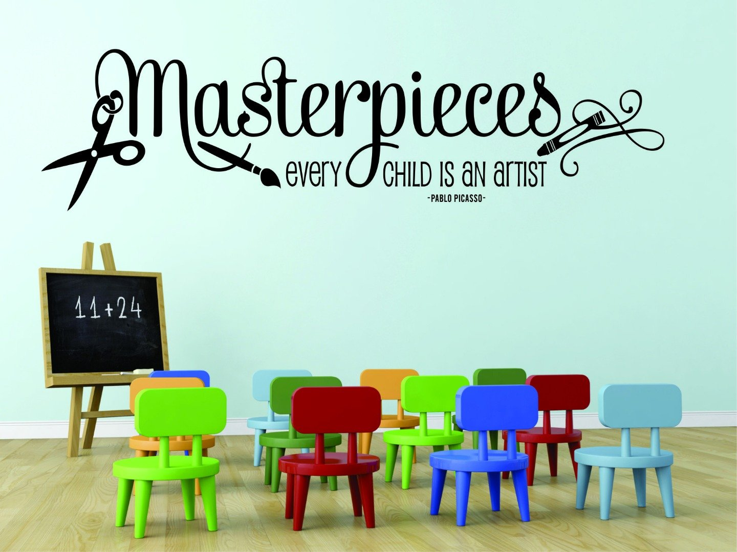 Design with Vinyl RAD 758 1 Masterpieces. Every Child Is An Artist. Pablo Picasso Quote Art Classroom Paint Brush Wall Decal, Black, 12 x 18' 12 x 18