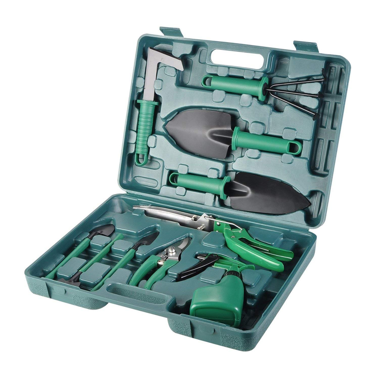 Rediboom Garden Tools Set, 10 Pieces Heavy Duty Gardening Tools Kit - Pruner, Trowel, Transplanting Spade, Rake, Sprayer Garden Hand Tools with Carrying Case for Men & Women
