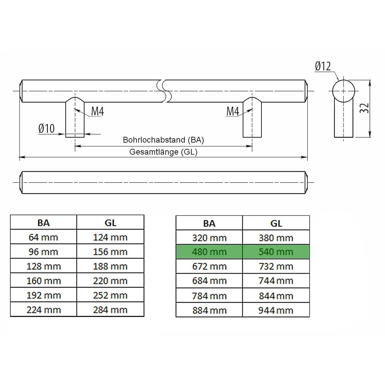 SO-TECH/® G1 Stangengriff /Ø 12 mm Edelstahloptik BA 684 mm