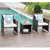 JOIVI 3 Piece Patio Set, Outdoor PE Wicker Rattan Chairs Patio Furniture Conversation Modern Bistro Set with Storage Side Table for Backyard Porch Poolside Lawn, Brown