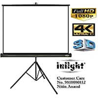 Inlight Cineview Series Tripod Type Projector Screen, Supports UHD, 3D and 4K Ready Technology-(6x4ft, 4:3 Aspect Ratio)
