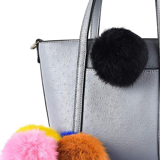 092f4eb1646 Rabbit Fur Ball Pom Pom Keychain Puff Ball Keyring Cityelf Fluffy  Accessories Car Bag Charm (