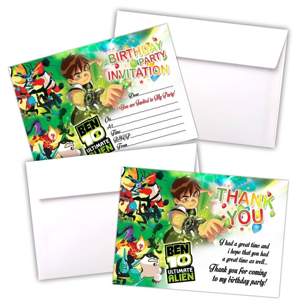 Invitation BEN 10 ULTIMATE ALIEN 20 CARDS | BIRTHDAY PARTY INVITES ...