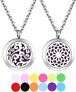 2pcs 30mm Aromatherapy Essential Oil Diffuser Necklace/Keychain Two Patterns Pendant Locket Jewelry