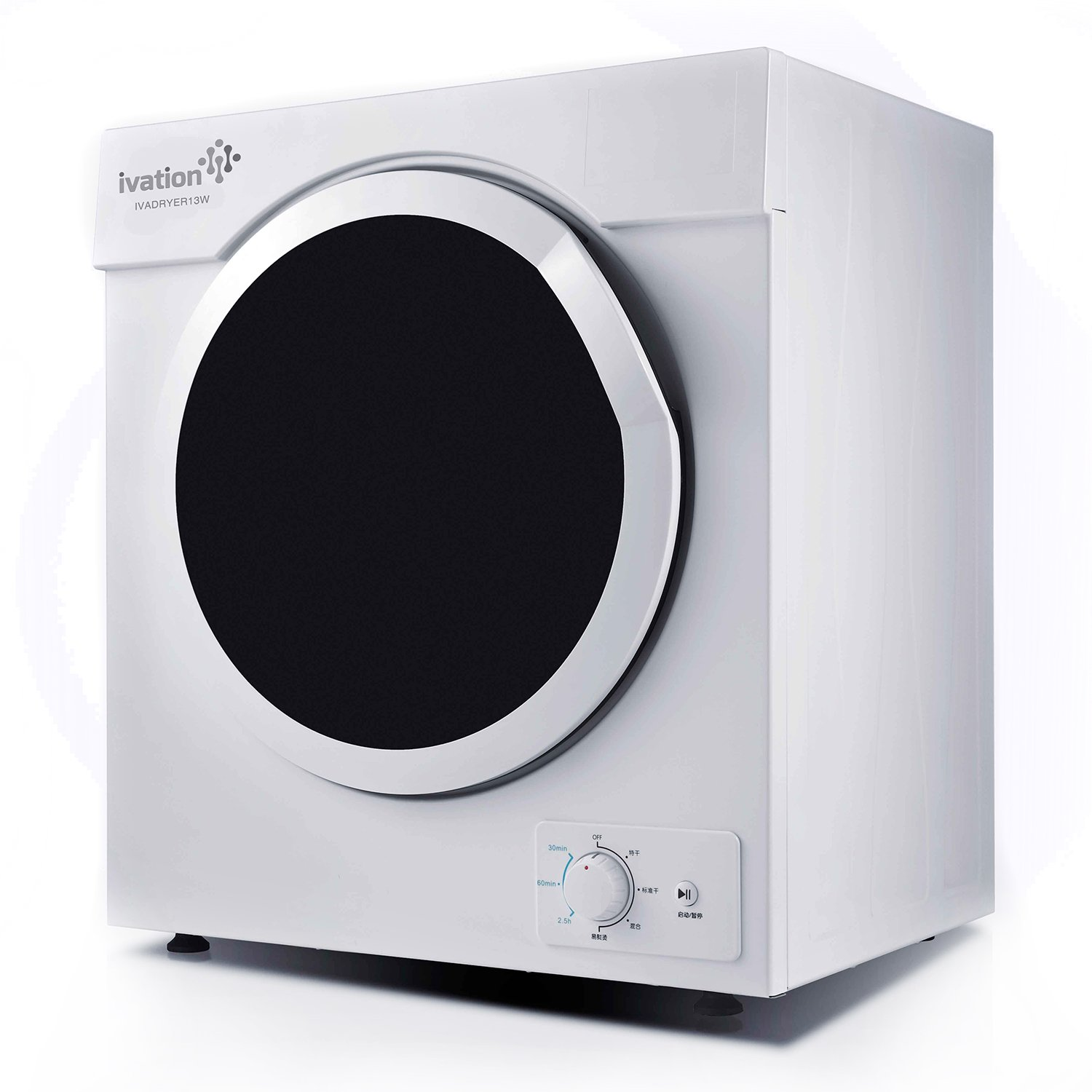 Ivation Compact Portable Ventless Electric Dryer for Apartments, Condos, Townhomes, Dorm Rooms & RVs – 7 Settings for All Load Types – White