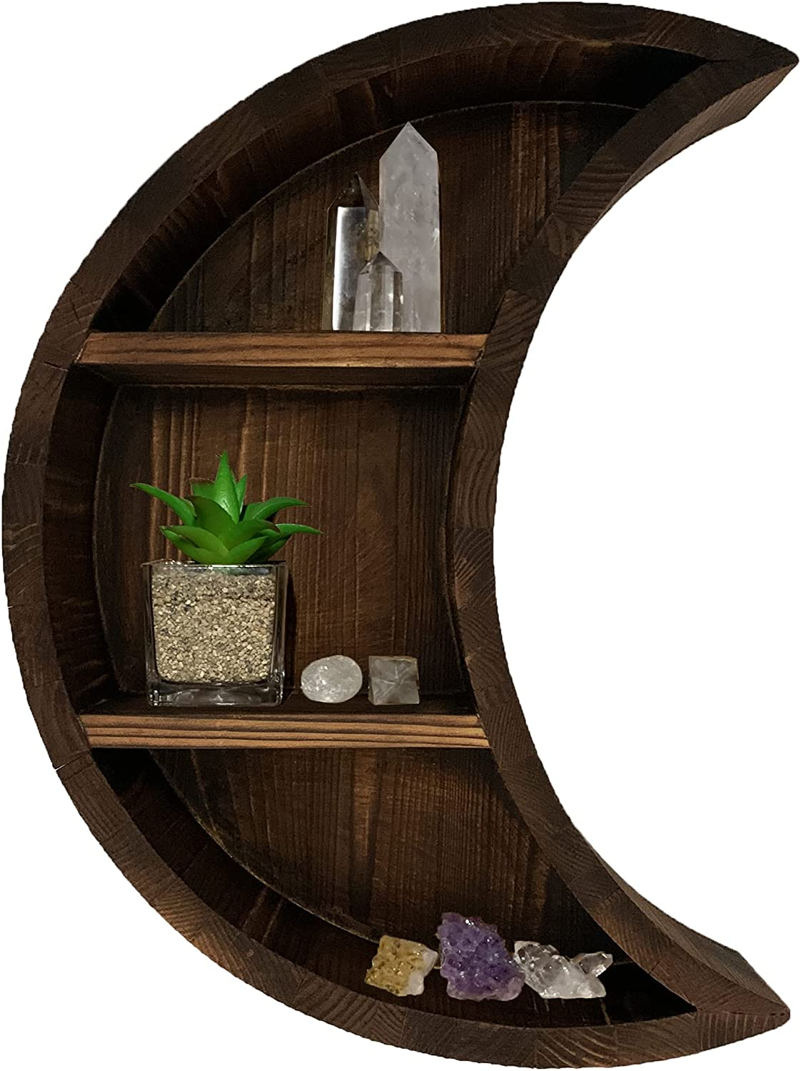 Rory's Creative Designs Moon Shelf - Solid Pine Wood Floating Hanging Storage Wall Decor for The Home Bedroom Living Room Kitchen - Wooden Essential Oil or Crystal Display - 16.5