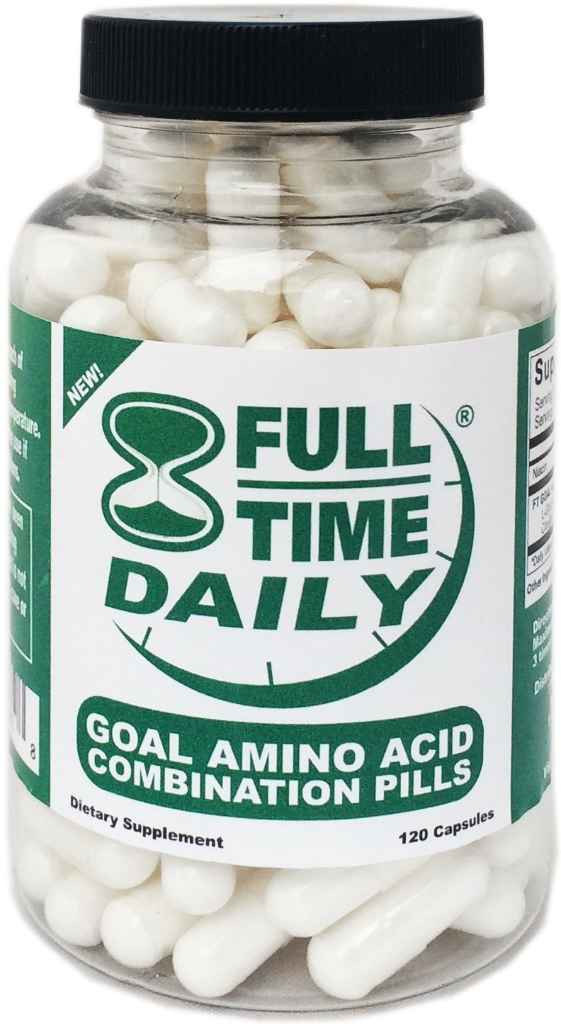 Full-Time Daily - GOAL Amino Acids Combination Pills 120 Capsules for Women and Men - Best L-Glycine L-Ornithine L-Arginine L-Lysine Complex Blend - Premium Anti Aging Formula - Top NO Supplements