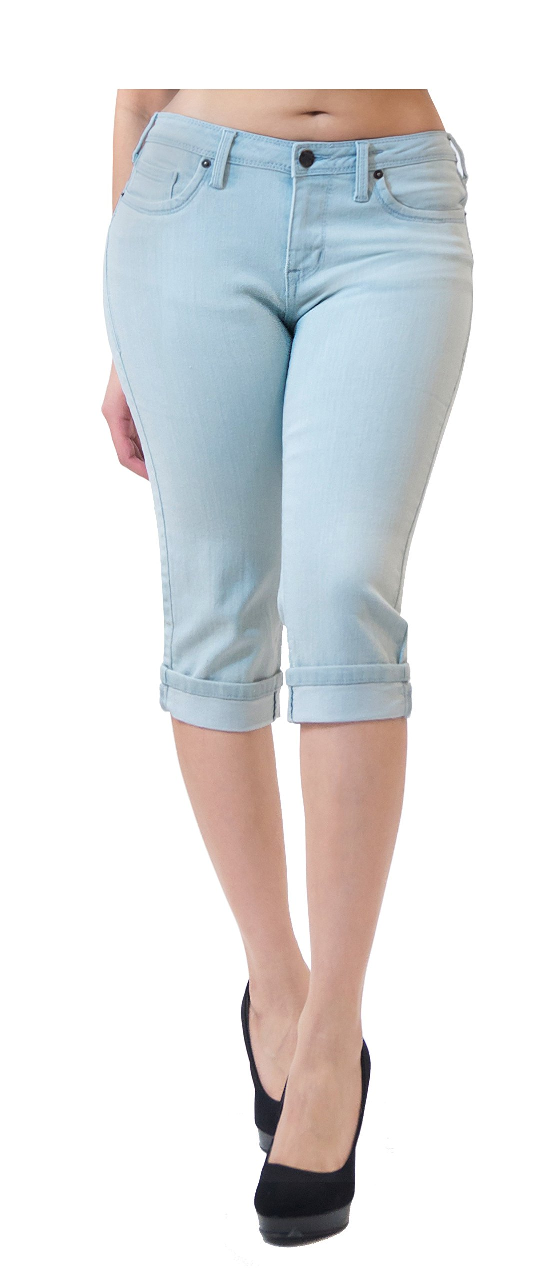 HyBrid & Company Women's Perfectly Shaping Stretchy Denim Capri-Q22883X-LightWash-18 by HyBrid & Company (Image #2)